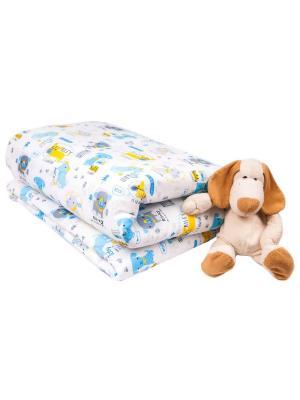 Одеяло с пододеяльником 110х140 Собачки DAISY. Цвет: лазурный, серый, золотистый, белый