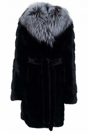 Пальто с мехом норки Mala Mati. Цвет: черный