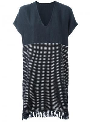 Свободное платье с бахромой Lemlem. Цвет: синий