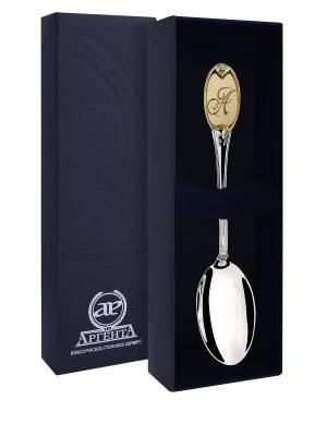 Ложка чайная с логотипом А частично позолоченная + футляр АргентА. Цвет: серебристый, золотистый