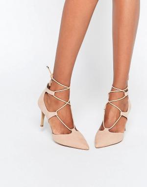 Head Over Heels Бежевые туфли на каблуке со шнуровкой By Dune Calista. Цвет: бежевый