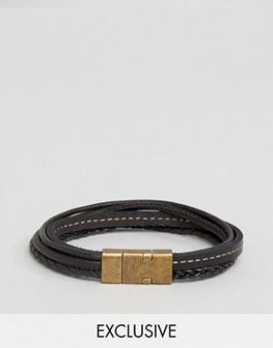 Seven London Черный кожаный браслет эксклюзивно для ASOS. Цвет: черный