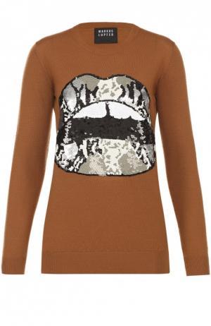 Удлиненный пуловер с контрастной вышивкой пайетками Markus Lupfer. Цвет: коричневый