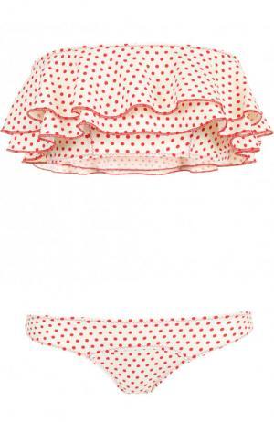 Раздельный купальник с горох оборкой Lisa Marie Fernandez. Цвет: красный