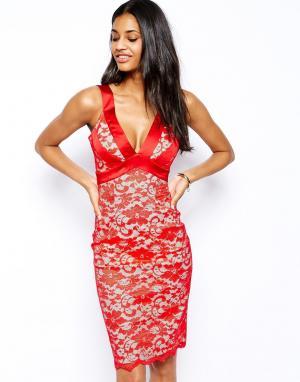 Hybrid Кружевное платье-футляр с глубоким вырезом. Цвет: темно-синий