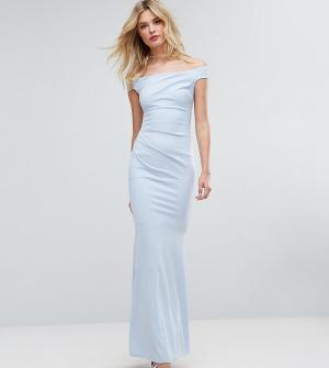 City Goddess Tall Платье-бандо макси с юбкой-годе. Цвет: синий