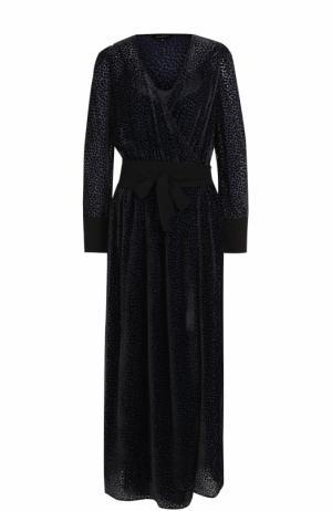 Приталенное бархатное платье-макси Tara Jarmon. Цвет: темно-синий