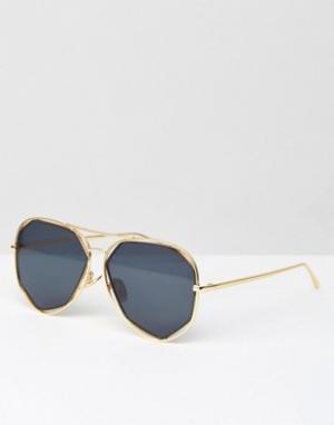 AJ Morgan Солнцезащитные очки-авиаторы. Цвет: золотой