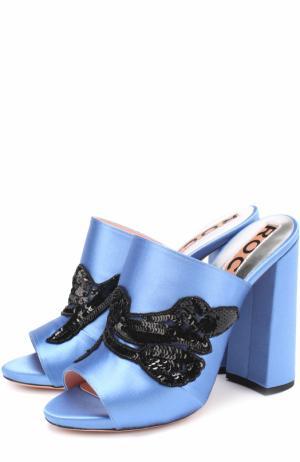 Атласные мюли с вышивкой пайетками Rochas. Цвет: голубой