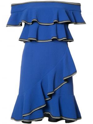 Короткое платье Billie Ruffle Rebecca Vallance. Цвет: синий