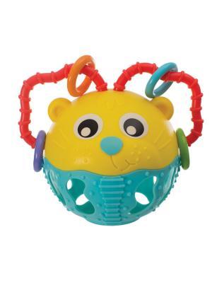 Погремушка Шар Львенок Playgro. Цвет: желтый, голубой, красный