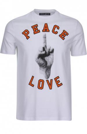 Хлопковая футболка с принтом Frankie Morello. Цвет: белый