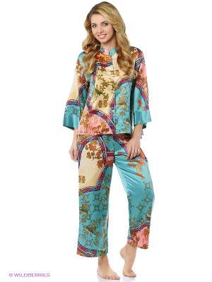 Пижама Natori. Цвет: бирюзовый, оранжевый
