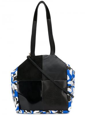 Floral colour-block tote Carmina Campus. Цвет: чёрный