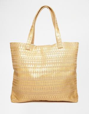 Echo Пляжная сумка-тоут с эффектом металлик. Цвет: bronze
