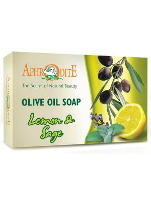 Мыло оливковое натуральное с маслом лимона и шалфея Aphrodite, 100 гр. Aphrodite. Цвет: зеленый