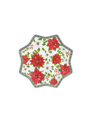 Блюдо сервировочное Новогодняя звезда Elan Gallery. Цвет: красный, белый, зеленый