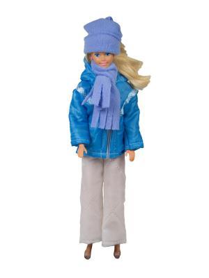 Пуховик, штаны, шапочка и шарфик для куклы 29 см Модница.. Цвет: синий