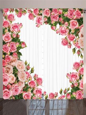 Комплект фотоштор Розовые и бордовые розы, белые оранжевые ромашки, алые маки, 290*265 см Magic Lady. Цвет: бежевый, молочный, красный, розовый, белый, зеленый