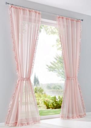 Гардина Кира (1 шт.), гофрированная тесьма (розовый) bonprix. Цвет: розовый