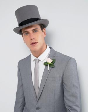 ASOS Серая фетровая шляпа-цилиндр WEDDING. Цвет: серый