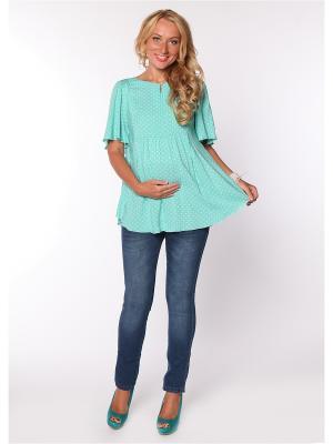 Блузка Мамуля красотуля. Цвет: серо-голубой, голубой