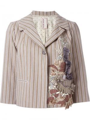 Полосатый пиджак с аппликацией Antonio Marras. Цвет: телесный