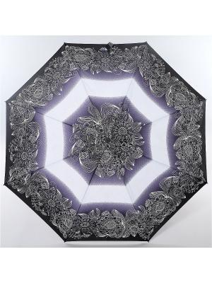 Зонт Zest, 3 слож, ПолнАвто, П-Э Zest. Цвет: черный, белый