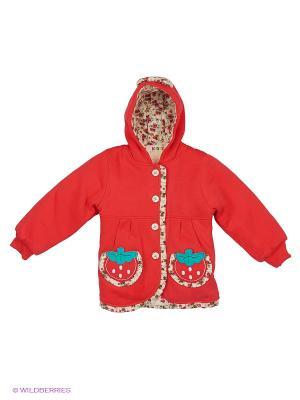 Куртка утеплённая с велсофтом Kidly. Цвет: кремовый, темно-красный