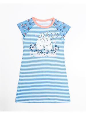 Ночная сорочка Mark Formelle. Цвет: голубой, белый, персиковый