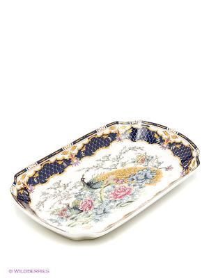 Блюдо для слоеных салатов Павлин на золоте Elan Gallery. Цвет: белый, золотистый, темно-синий