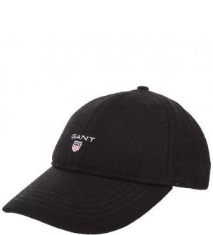 Черная бейсболка с логотипом бренда Gant. Цвет: черный