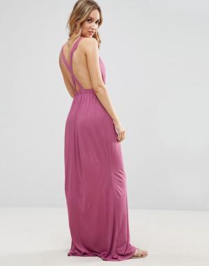 ASOS Трикотажное пляжное платье макси с перекрестом на спине. Цвет: фиолетовый
