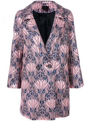 Двубортное пальто с цветочным рисунком Femme By Michele Rossi. Цвет: розовый и фиолетовый
