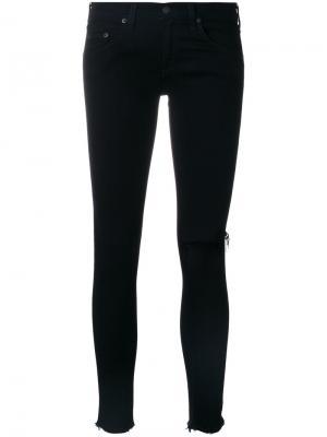 Укороченные брюки с прорезью на колене Rag & Bone /Jean. Цвет: чёрный