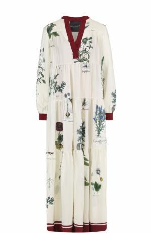 Шелковое платье-макси с цветочным принтом Erika Cavallini. Цвет: кремовый