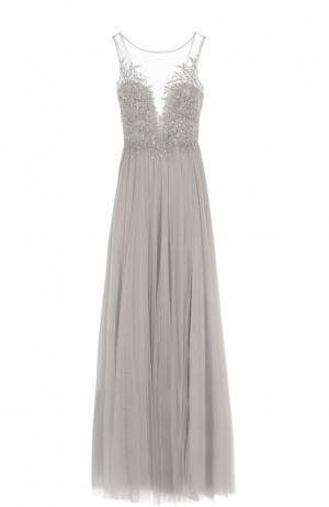 Приталенное платье в пол с вышивкой и полупрозрачной вставкой Basix Black Label. Цвет: серебряный