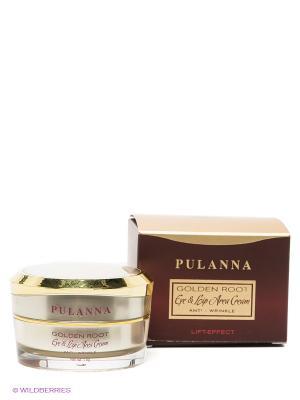 Восстанавливающий крем для контура век и губ -Eye & Lip Area Cream Anti-Wrinkle 15г PULANNA. Цвет: золотистый