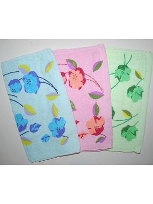 Набор салфеток 3пр Цветы La Pastel. Цвет: голубой, розовый, зеленый