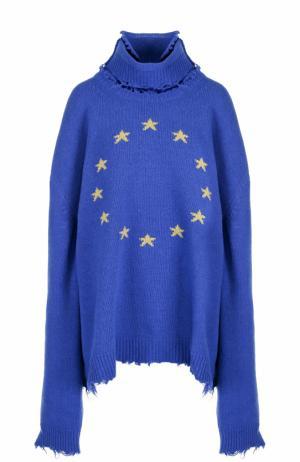 Шерстяной свитер с принтом Vetements. Цвет: синий