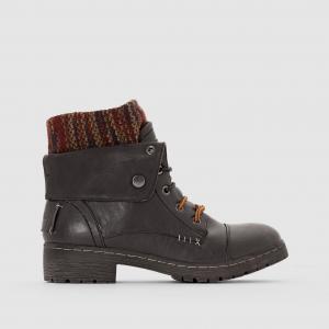 Ботильоны из двух материалов на шнуровке с отворотами BRINGIT COOLWAY. Цвет: серо-коричневый,черный