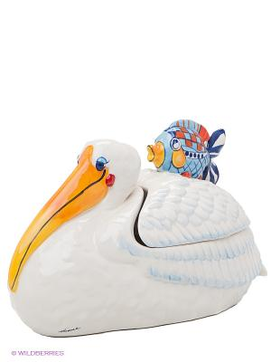 Блюдо с крышкой Счастливый пеликан Blue Sky. Цвет: молочный