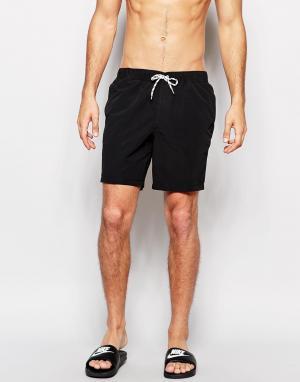 ASOS Черные шорты для плавания средней длины. Цвет: черный