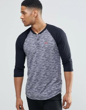 Hollister Серая футболка слим с рукавами 3/4. Цвет: серый