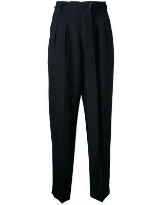 Укороченные брюки с высокой талией Cityshop. Цвет: синий