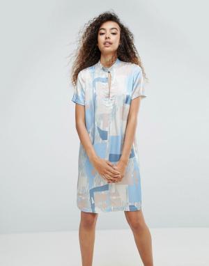 MbyM Шелковистое платье с принтом. Цвет: мульти