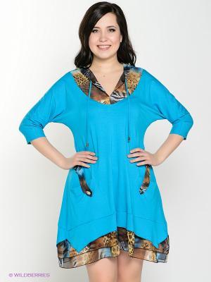 Платье Amelia Lux. Цвет: голубой, коричневый