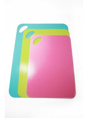 Набор досок разделочных с антискользящим покрытием 3шт, пластик, 30х21см, 34х25см, 38х29см KONONO. Цвет: розовый