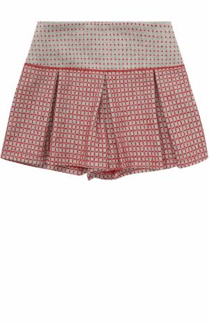Шорты с защипами и контрастной вышивкой I Pinco Pallino. Цвет: серый