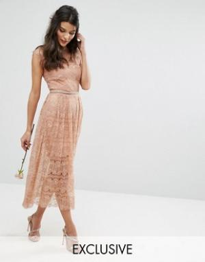 Body Frock Кружевное платье миди с поясом Bodyfrock. Цвет: бежевый